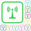 Wlan network vivid colored flat icons - Wlan network vivid colored flat icons in curved borders on white background