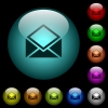 Open mail icons in color illuminated glass buttons - Open mail icons in color illuminated spherical glass buttons on black background. Can be used to black or dark templates