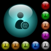Send user data as email icons in color illuminated glass buttons - Send user data as email icons in color illuminated spherical glass buttons on black background. Can be used to black or dark templates