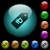 Ruble price label icons in color illuminated glass buttons - Ruble price label icons in color illuminated spherical glass buttons on black background. Can be used to black or dark templates