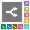 Split arrows square flat icons - Split arrows flat icons on simple color square backgrounds