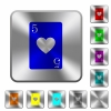 Five of hearts card rounded square steel buttons - Five of hearts card engraved icons on rounded square glossy steel buttons
