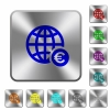 Online Euro payment rounded square steel buttons - Online Euro payment engraved icons on rounded square glossy steel buttons