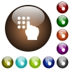 Typing security code white icons on round color glass buttons - Typing security code color glass buttons