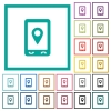 Mobile navigation flat color icons with quadrant frames - Mobile navigation flat color icons with quadrant frames on white background