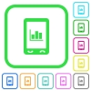Mobile statistics vivid colored flat icons - Mobile statistics vivid colored flat icons in curved borders on white background