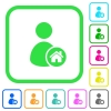 User home vivid colored flat icons - User home vivid colored flat icons in curved borders on white background
