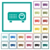 Video projector flat color icons with quadrant frames - Video projector flat color icons with quadrant frames on white background