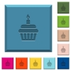 Birthday cupcake engraved icons on edged square buttons - Birthday cupcake engraved icons on edged square buttons in various trendy colors