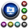 FTP save round glossy buttons - FTP save icons in round glossy buttons with steel frames