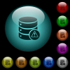 Database error icons in color illuminated glass buttons - Database error icons in color illuminated spherical glass buttons on black background. Can be used to black or dark templates