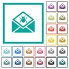 Open mail with malware symbol flat color icons with quadrant frames - Open mail with malware symbol flat color icons with quadrant frames on white background