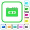 Vintage retro walkman vivid colored flat icons - Vintage retro walkman vivid colored flat icons in curved borders on white background