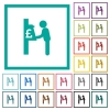 Pound cash machine flat color icons with quadrant frames - Pound cash machine flat color icons with quadrant frames on white background