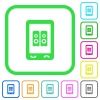 Mobile speakerphone vivid colored flat icons - Mobile speakerphone vivid colored flat icons in curved borders on white background