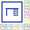 Drawer desk flat framed icons - Drawer desk flat color icons in square frames on white background