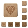 Diamond on rounded square carved wooden button styles - Diamond wooden buttons