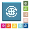 International white icons on edged square buttons - International white icons on edged square buttons in various trendy colors