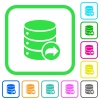 Database transaction commit vivid colored flat icons in curved borders on white background - Database transaction commit vivid colored flat icons
