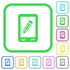 Mobile memo vivid colored flat icons in curved borders on white background - Mobile memo vivid colored flat icons