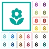 Flower flat color icons with quadrant frames on white background - Flower flat color icons with quadrant frames