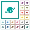 Planet flat color icons with quadrant frames - Planet flat color icons with quadrant frames on white background