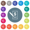 Signing Dollar cheque flat white icons on round color backgrounds - Signing Dollar cheque flat white icons on round color backgrounds. 17 background color variations are included.