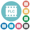 FLC movie format flat round icons - FLC movie format flat white icons on round color backgrounds