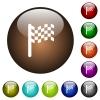 Race flag color glass buttons - Race flag white icons on round color glass buttons