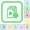 Lock playlist vivid colored flat icons - Lock playlist vivid colored flat icons in curved borders on white background