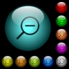 Zoom out icons in color illuminated glass buttons - Zoom out icons in color illuminated spherical glass buttons on black background. Can be used to black or dark templates