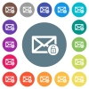 Unlock mail flat white icons on round color backgrounds - Unlock mail flat white icons on round color backgrounds. 17 background color variations are included.