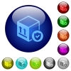 Safe package delivery color glass buttons - Safe package delivery icons on round color glass buttons