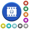 Movie audio beveled buttons - Movie audio round color beveled buttons with smooth surfaces and flat white icons