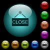 Close sign icons in color illuminated glass buttons - Close sign icons in color illuminated spherical glass buttons on black background. Can be used to black or dark templates