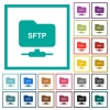 FTP over SSH flat color icons with quadrant frames - FTP over SSH flat color icons with quadrant frames on white background