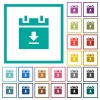download schedule data flat color icons with quadrant frames - download schedule data flat color icons with quadrant frames on white background