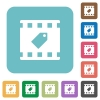 Tag movie rounded square flat icons - Tag movie white flat icons on color rounded square backgrounds