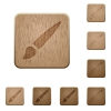 Brush wooden buttons - Brush on rounded square carved wooden button styles