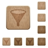 Funnel wooden buttons - Funnel on rounded square carved wooden button styles