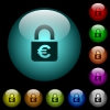 Locked euros icons in color illuminated glass buttons - Locked euros icons in color illuminated spherical glass buttons on black background. Can be used to black or dark templates