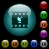 Movie broadcasting icons in color illuminated glass buttons - Movie broadcasting icons in color illuminated spherical glass buttons on black background. Can be used to black or dark templates