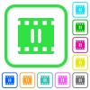 Pause movie vivid colored flat icons - Pause movie vivid colored flat icons in curved borders on white background