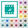 Movie adjusting flat color icons with quadrant frames - Movie adjusting flat color icons with quadrant frames on white background