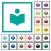 Library flat color icons with quadrant frames - Library flat color icons with quadrant frames on white background