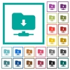 FTP navigate down flat color icons with quadrant frames on white background - FTP navigate down flat color icons with quadrant frames