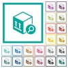 Find package flat color icons with quadrant frames - Find package flat color icons with quadrant frames on white background