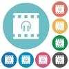 Movie audio flat round icons - Movie audio flat white icons on round color backgrounds