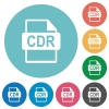 CDR file format flat round icons - CDR file format flat white icons on round color backgrounds