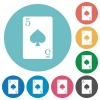 Five of spades card flat round icons - Five of spades card flat white icons on round color backgrounds